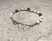 """7"""" Rose Quartz and Smoky Quartz // Adult Gemstone Beaded Bracelet // Hand Knotted // Sterling Silver Findings"""