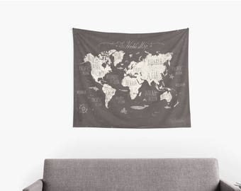 Black & White World Map Countries Tapestry