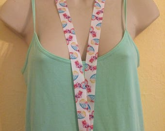 Multicolor pineapple ribbon lanyard/id/badge holder