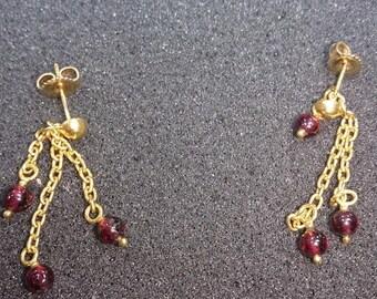 22k Gold Earrings with Garnet Stone