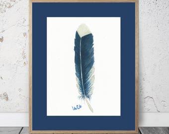 Feather Study Blue and White