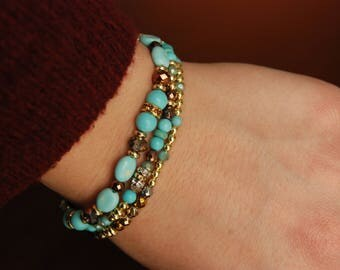 Aqua and Gold Bracelet Set