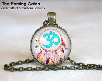 OM DREAM CATCHER Pendant • BoHo Chic • Bohemian Style • Gift Under 20 • Made in Australia (P1363)