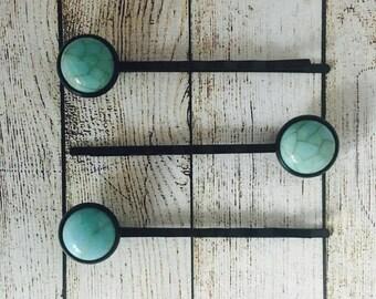 Turquoise Black Hair Slides • Black Bobby Pins • Turquoise Hair Grips • Handmade Hair Slides • Prom Hair • PACK of 3 • Made in Australia