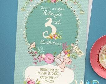 Spring Mouse Kids Birthday Invitation, 3rd Birthday Card, Digital Birthday Invitations, Digital Birthday Card, Printable Birthday Invite