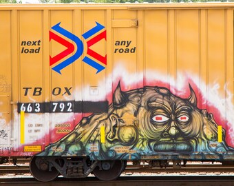 Red Eyes: Train are, graffiti. Frame not included. Individually photographed and printed by Frank Heflin