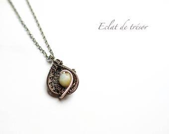 Wire wrap Gaia necklace, amazonite gemstone