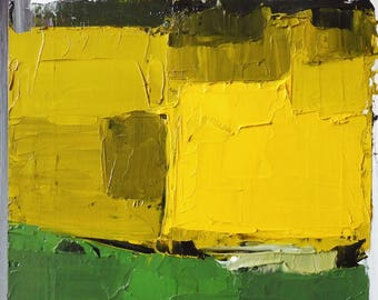 YELLOW AND GREEN 2017. Original Abstract Landscape Oil Painting.