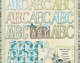 On Sale 50% Just Beachy Digital Scrapbook Kit Extra Alphabets Pack - Digital Scrapbooking