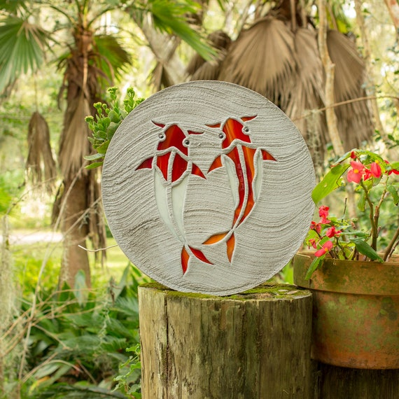 """Koi Fish Stepping Stone, Large 18"""" Diameter Made of Concrete and Stained Glass, Perfect for Your Backyard Goldfish Pond or Garden Path #772"""