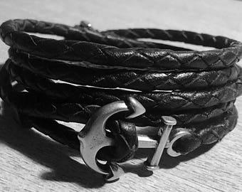 Handmade wrap bracelet with anchor stainless steel closure Mens & Women ® CHIMUWAVES