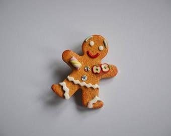 Snowman cookie brooch