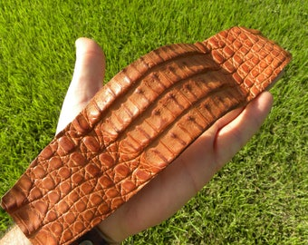 Genuine tan  tobacco color  Alligator  leather natural cuff bracelet  ketoh wristband customize to your wrist size cool Shaman style one of
