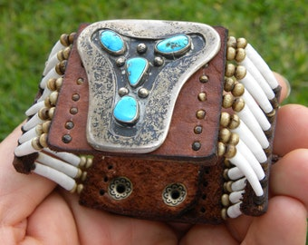Ketoh Cuff bracelet wristband  Native Indian Navajo sterling silver turquoise  dentalium good luck shell Bison leather nice gift for FSU