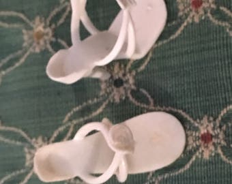 Vintage white high heel doll Shoes