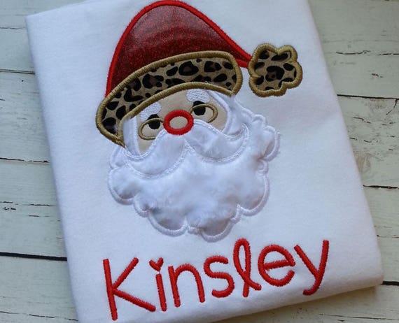 Santa Claus Shirt, Santa Claus with Glasses Applique, Santa Shirt, Christmas Shirt, XMAS Shirt, Santa Shirt, Santa Christmas Shirt