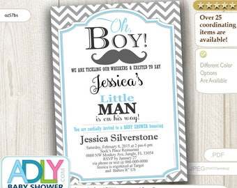 Gray Baby Blue Mustache Little Man Invitation for Baby Boy Shower,Chevron. A sweet Little Man on his way INSTANT DOWNLOAD Template-oz68bs