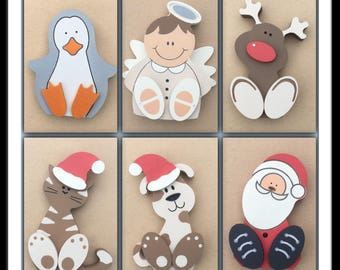 Chunky freestanding wooden christmas characters:Santa, rudolph, angel, penguin, cat, dog, mrs claus - Little kids treasures