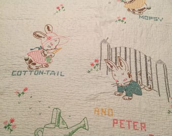 Baby Quilt 53x35 Hand Cross Stitched Peter Rabbit Flopsy Mopsy Cottontail 1950s