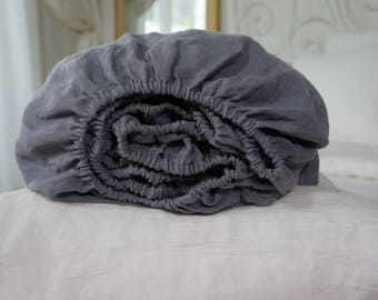 Linen light charcoal grey fitted-flat sheet- Softened linen dusty grey  fitted sheet-Full-twin/double/queen/king size