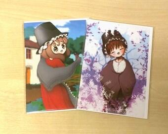 Welsh Girls Greetings Cards, set ot 2