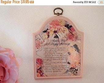 Wall Hanging Plaque Rules for a Happy Marriage Pink Victorian Floral Bridal Shower Wedding Gift Home Decor