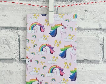 A6 Printed Notebooks - Unicorn, Circus and Seaside Donkey Prints, paperback, lined paper