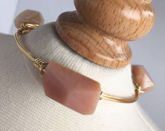 Peach Jade Nugget Wire Wrapped Bsngle, Wire Wrap Bangle, Wire Wrapped Bracelet, Wire Wrap Bracelet, Wire Bangle