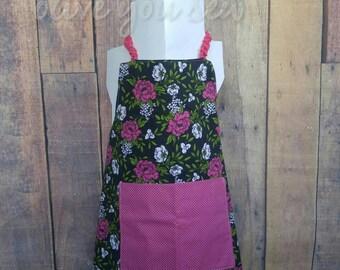Reversible Kid's Apron, Toddler apron, girls apron, boys apron, teen apron - Purple Flowers