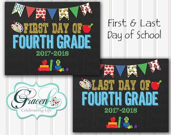 First Day Of School Sign, First Day Of Fourth Grade Sign, Last Day Of School Sign, Back To School Sign, Printable Sign 8x10