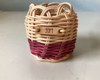 Hand woven Christmas ornament basket Native American Art