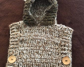 Hand Crocheted Hoided Poncho for 2-4 Year Old