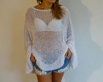 loose knit sweater, oversized sweater, plus size sweater, loose knit, slouchy, bohemain, white, loose, oversized, plus size, made to order