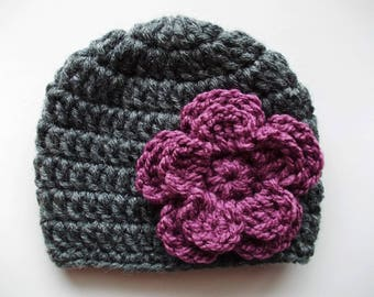 Wool baby hat Baby girl hat Charcoal baby hat Newborn girl outfit Crochet newborn hat Baby girl winter hat Wool newborn hat Baby girl beanie