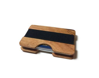 Handmade Cherry Wood Wallet, Minimal Wallet, Credit Card Holder, Personalized Wallet