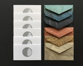 Mini Stationery in Space - 6 Letterpress Silver Moon Cards & 6 Marbled Envelopes