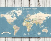 World Travel Map, Map Your Travels, Canvas Pushpin Map, Husband Gift, Our Travels Map, Personalized Travel Map, Personalized Push Pin Map