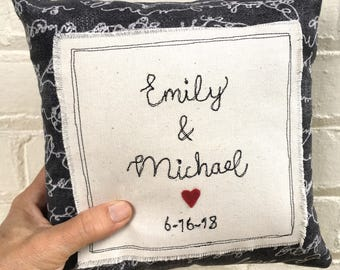 Personalized wedding pillow, custom wedding pillow, wedding keepsake, small pillow, rustic wedding gift, embroidered name pillow