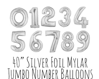 "40"" Silver Number Balloons, 40 Inch Shiny Foil Mylar Balloons, Custom Age, Pick Your Year, Party Decoration, Celebration, Birthday Balloons"