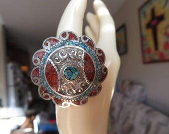 Tibetan Silver Genuine Coral & Turquoise Unique Ring Size 10.5, Weight 28 Grams