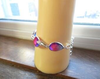 Bi-Color Tourmaline Gemstone 925 Sterling Silver Bracelet 7-8 Inches, Wt. 12 Grams Adjust
