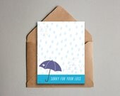 Sorry for Your Loss Printable Greeting Card - Teardrop Rain with Umbrella Condolences Card - Download - Simple Sympathy for Death in Family