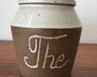 Tea Storage Jar, Neutral Tea Jar, Ceramic Storage Jar with Cork Lid Vintage Tea Jar, Stoneware Pottery,  Selsbo Pottery, Swedish Pottery