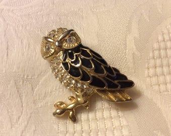 Rhinestone Owl Pin/Brooch
