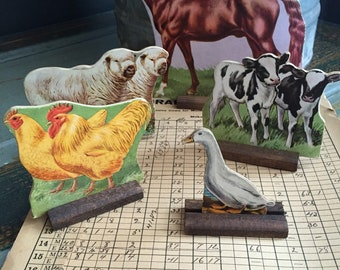 Amazing early antique folk art primitive faem animal toys! Sheep, horse, chickens! Free ship!