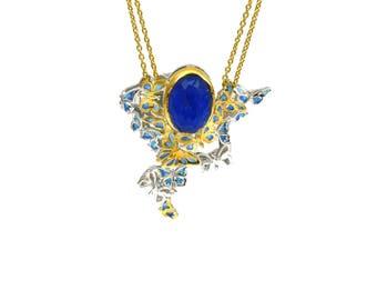 Butterfly Necklace, Blue Butterfly Flock Pendant, Butterfly Wings, Bridal Jewelry, Wedding Jewelry Butterfly Pendant, Something Blue, Lapis