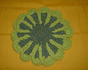 "CROCHETED FLOWER TRIVET - Made w/ Lily's Sugar and Cream Cotton Yarn, Green, Light Green Edging, 9"" Length, 9"" Width"