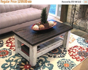 SALE Reclaimed White Rustic Coffee Table with Brown Top