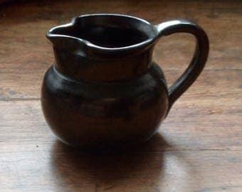 Miniature Prinknash Pottery Jug. Black Metallic Glaze.