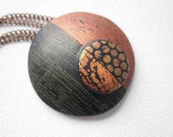 Black and copper statement pendant necklace,  polymer clay womens pendant necklace